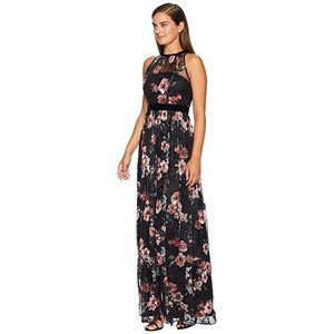 NWT Adrianna Papell Floral Sleeveless Tulle Gown 6